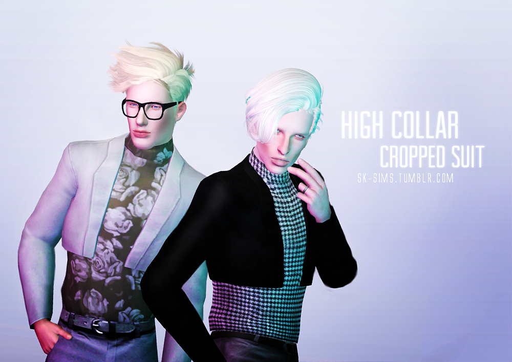 High Collar Cropped Suit by SK-Sims