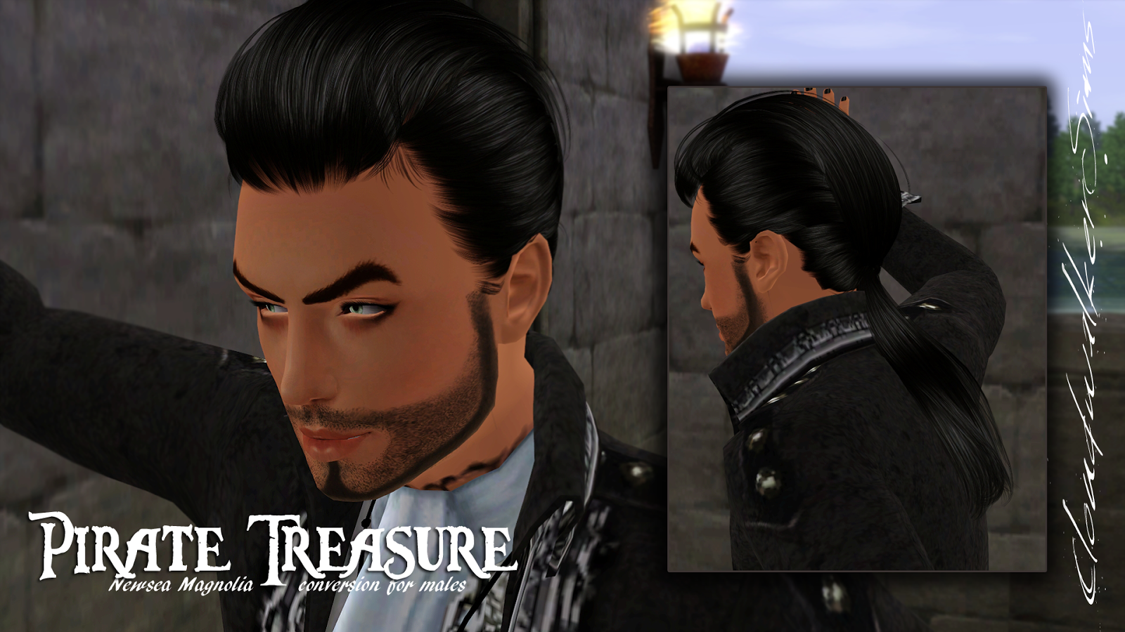 Pirate Treasure Hair for Males by Cloudwalker Sims
