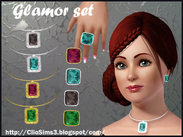 Glamor set (earrings, necklace, ring) by Clio