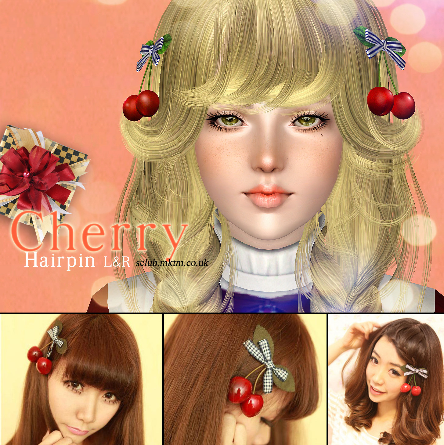 S-Club cherry hairpin R&L