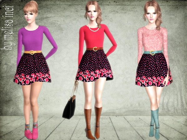 Floral Skirts Belted Detail Dress by melisa inci