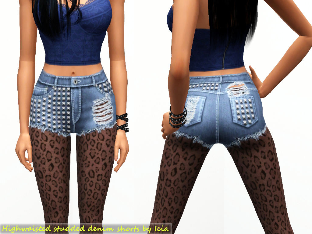 Highwaisted studded denim shorts by Icia