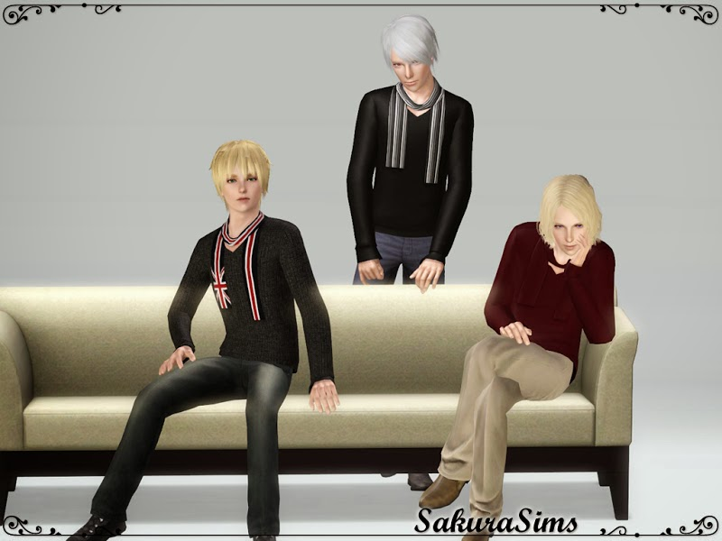 New Sweater with Scarf for Adult Males by Sakura