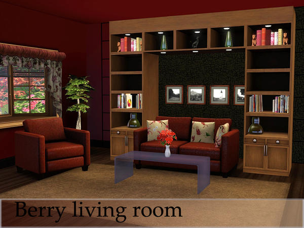 Berry living room by spacesims