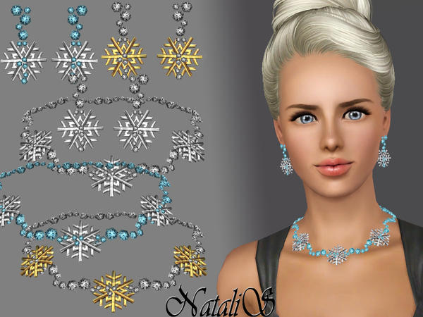 Snowflakes with crystal jewelry set FA by NataliS
