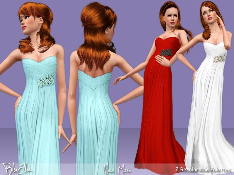 Wedding Party Gown With Brooch by BluElla