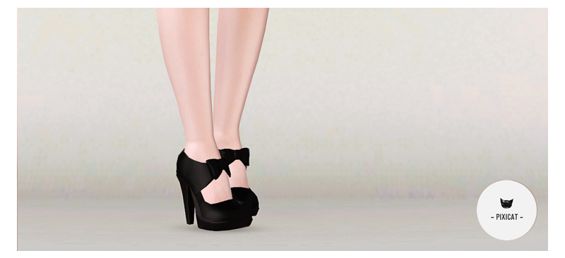 Black Bow Heels by pixicat