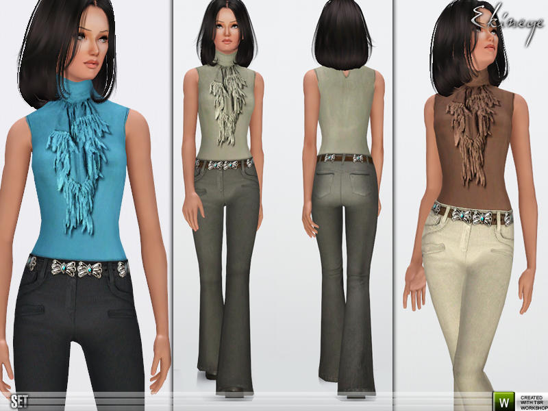 Flared Leg Pants & Sleeveless Top by ekinege
