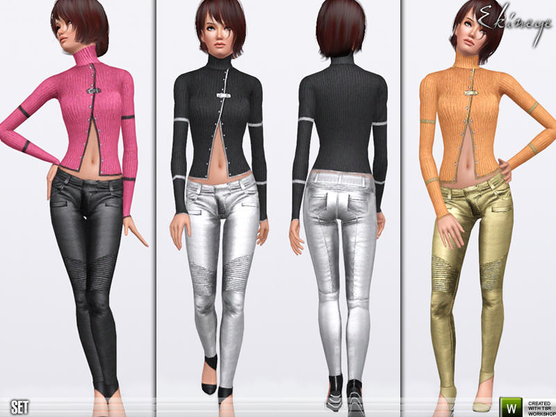 Knit Top & Metallic Pants - Set72 by ekinege