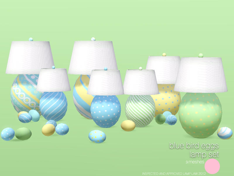 Blue Birds Eggs Lamp Set by DOT