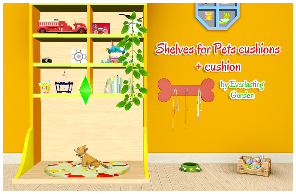 Shelves for Pets Cushions + Cushion and 4 Leash Racks by Everlasting Garden