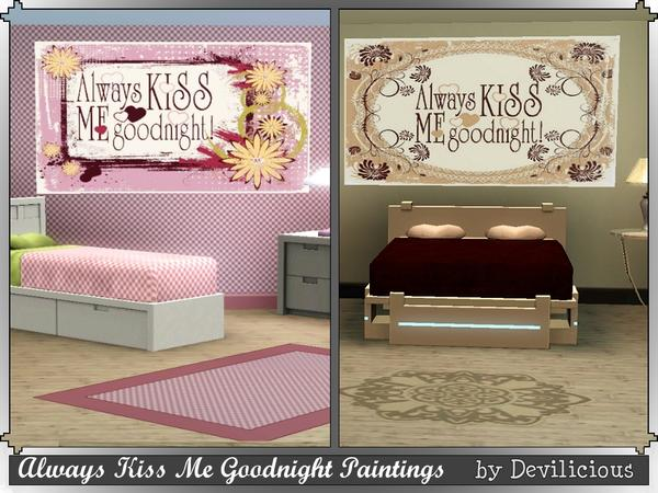 Always Kiss Me Goodnight Paintings by Devilicious