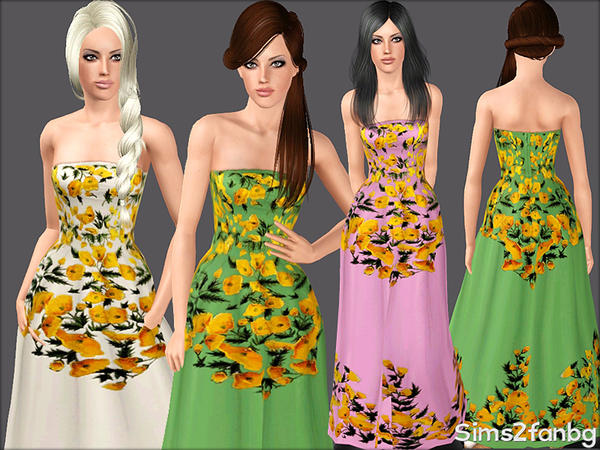 377 - Floral dresses by sims2fanbg