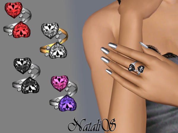 Two Hearts Twisted Rings FT-FA by NataliS