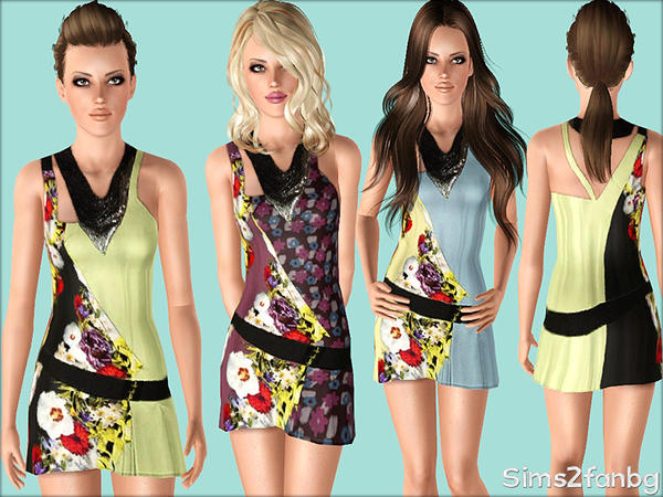 381 - Floral dress by sims2fanbg