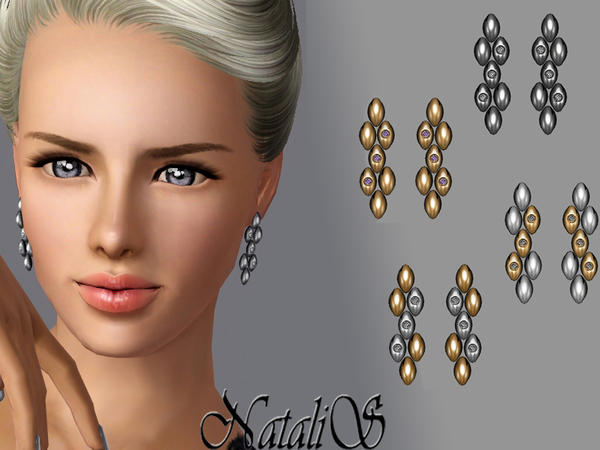Metal Drops with Crystals Earrings FT-FE by NataliS