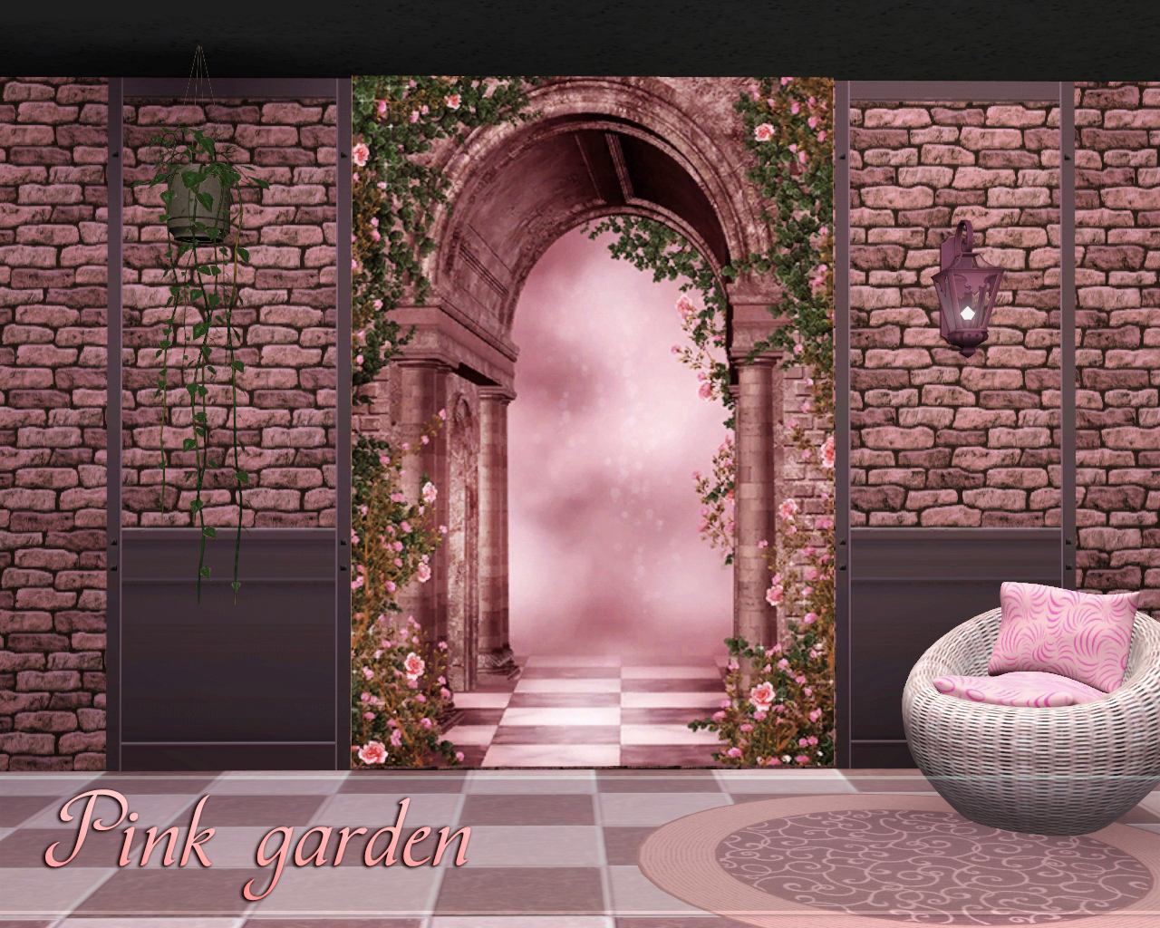 Pink garden backgrounds by Torri