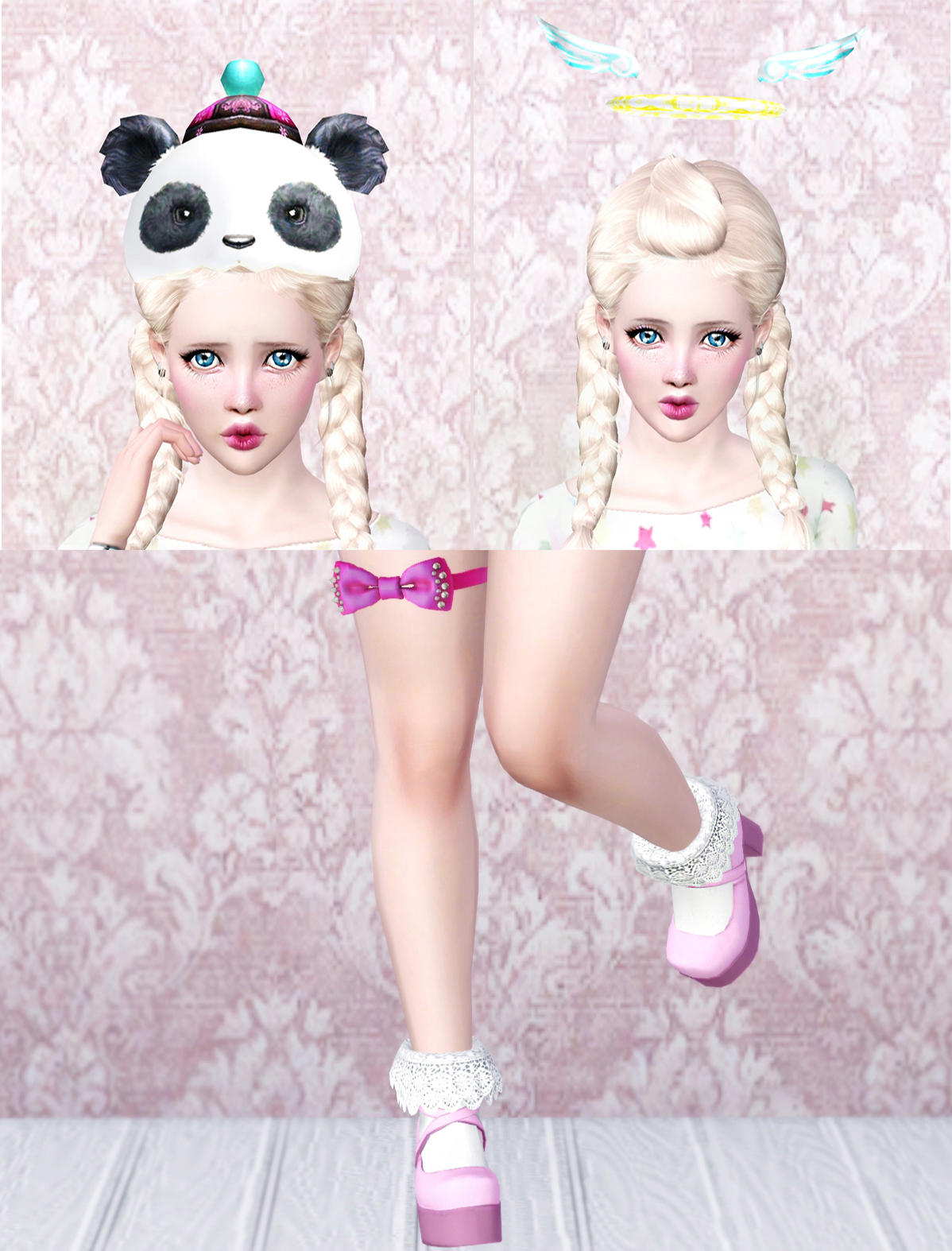 Panda Hat, Angel Rings and bow by tractusopticus
