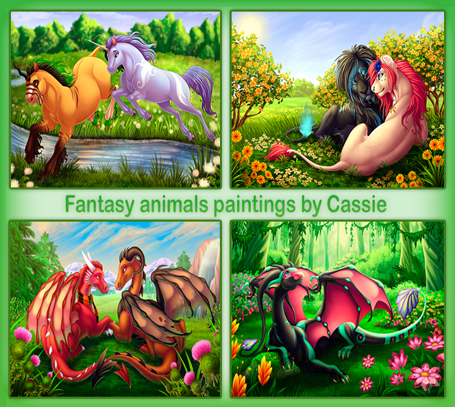 Fantasy animals paintings by Cassie