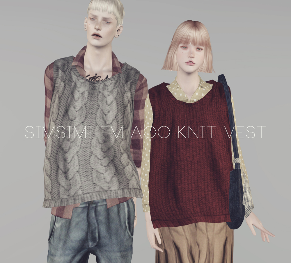 Accessory Knit Vest for Males and Females by Simsimi