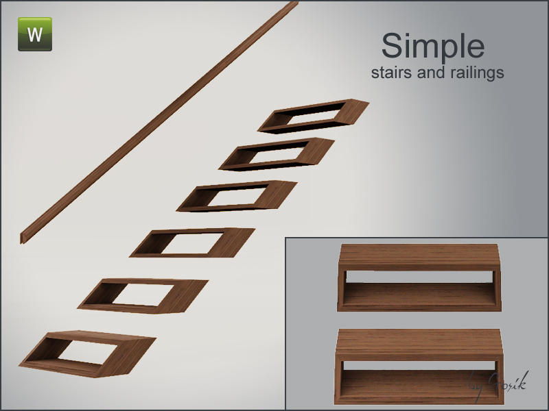 Simple stairs and railings by Gosik