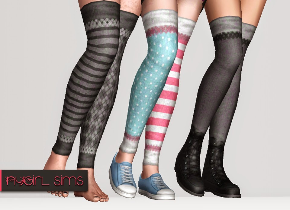 Stitched Multi-color Thigh High Sock by NY Girl Sims