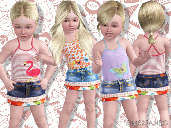 389 - Toddler denim skirt with top by sims2fanbg