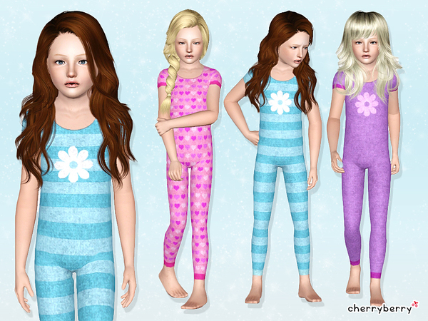 Flower pyjama for girls by CherryBerrySim