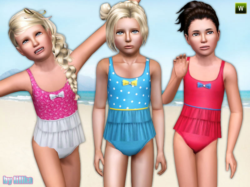 Girls Swimsuit with Frill by lillka