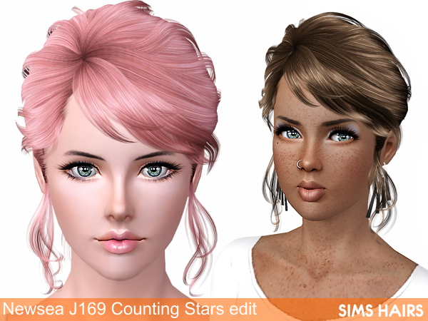 J169 Counting Stars hairstyle from Newsea retextured by Sims Hairs