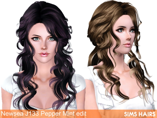 Newsea J133 Pepper Mint hairstyle retextured by Sims Hairs