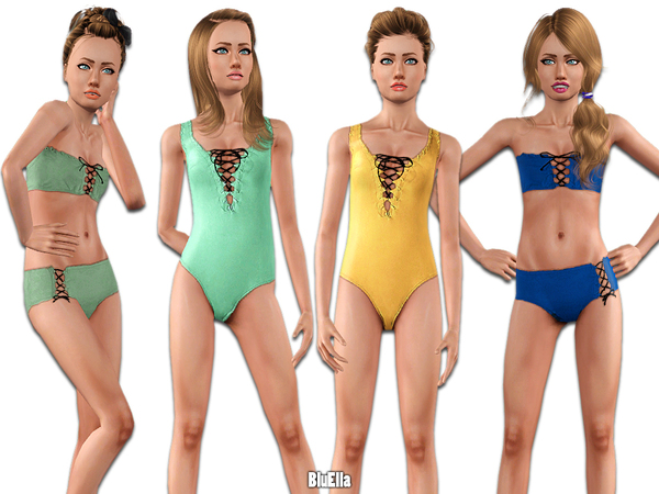 Cross-Rope Swimsuit Set -Set 04- [Teen] by BluElla