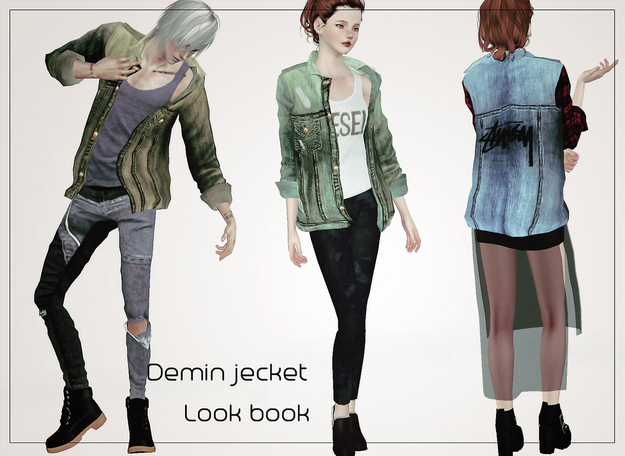 Accessory Denim Jacket for Males & Females by Littlemsim
