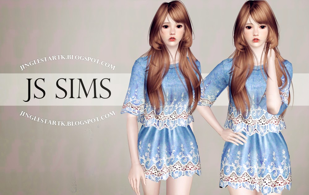 Lace Denim Top and Skirt by JS Sims 3