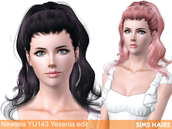 Newsea YU 143 Yesenia AF hairstyle retextureds by Sims Hairs