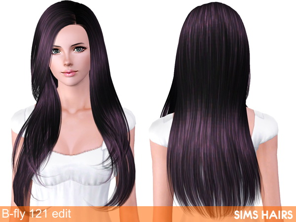 Hairstyle 121 from Butterfly Sims retextured by Sims Hairs