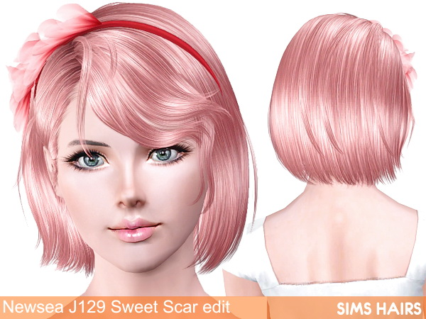 Newsea's J129 Sweet Scar with/without headband retexture by Sims Hairs