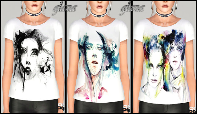 white T-shirts with prints by glaza