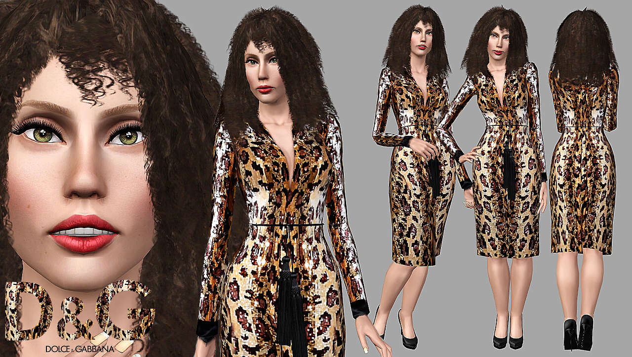 Gaga in Dolce & Gabbana Spring 2001 40's styled sequin leopard swing coat by Artsims