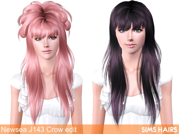 Newsea J 143 Crow hairstyle for females retextured by Sims Hairs