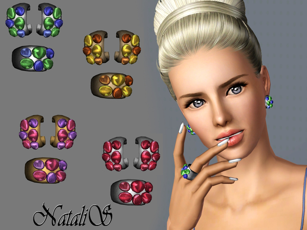 Cocktail jewlry set with a cabochons FA-YA by NataliS
