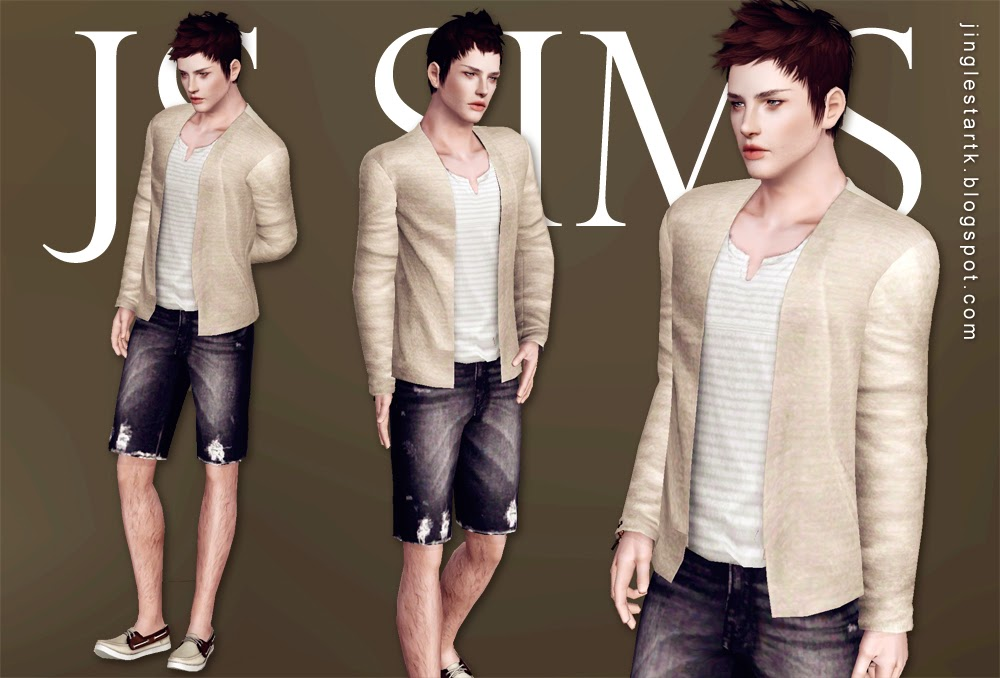 Henley Shirt With Cardigan & Denim Ripped Shorts by JS Sims 3