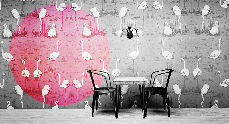 Flamingo Wallpaper by Plumbobdollhouse