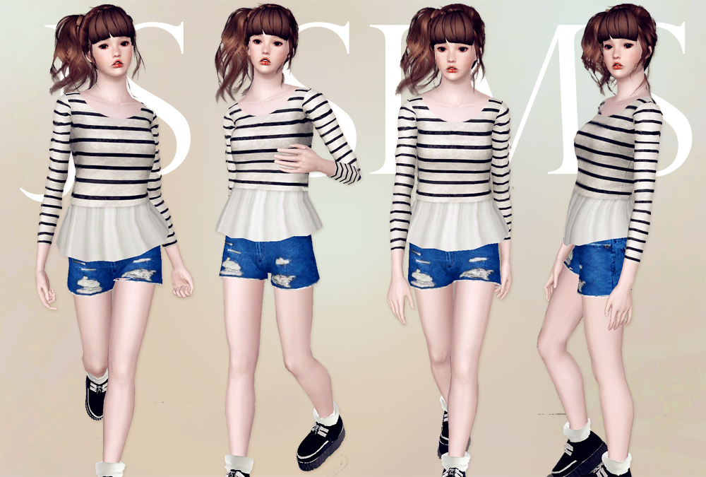 Ruffle Waist Top & Ripped Denim Shorts by JS SIMS 3