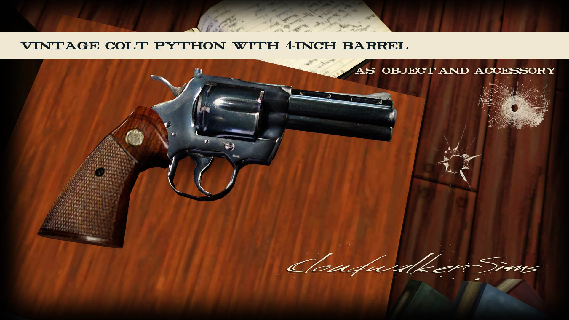 Vintage Colt Python Object and Accessory by Cloudwalker Sims