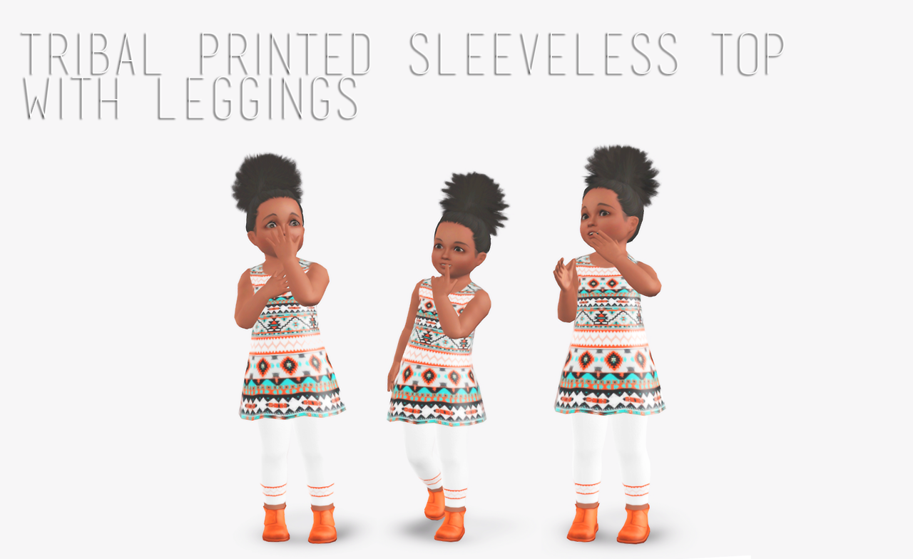 Tribal Printed Sleeveless Top with Leggings by Doesims