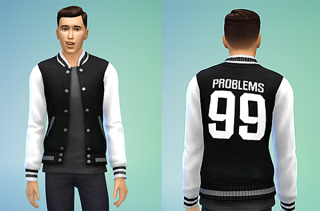Problems 99 Black & White Letterman Jacket Recolor by GRND SCRM