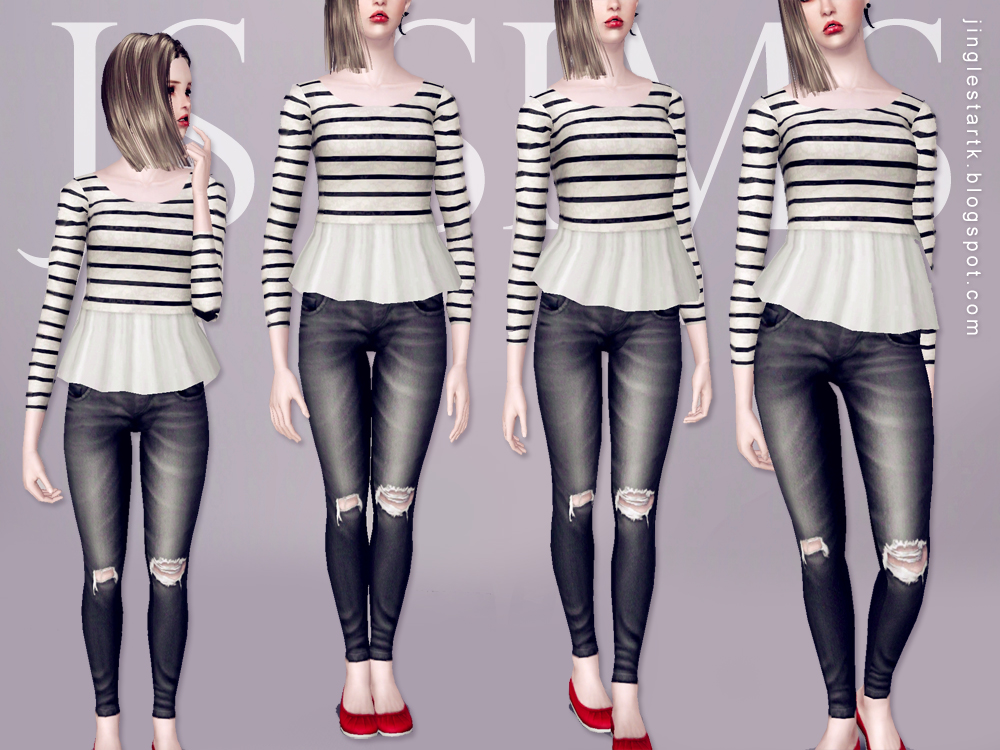 Denim Ripped Jeans by JS Sims 3