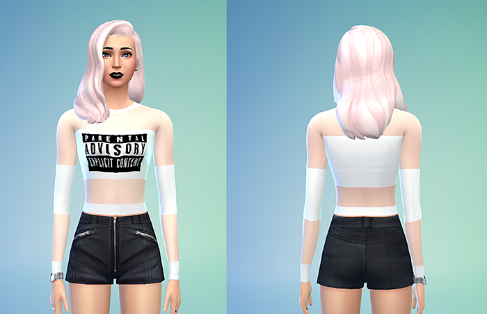 Alexander Wang Parental Advisory Transparent Top by Sims4Sweatshop