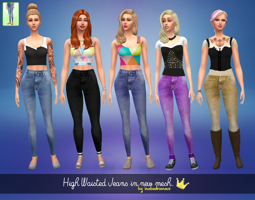 5 High Waisted Non-default Jeans by inabadromance